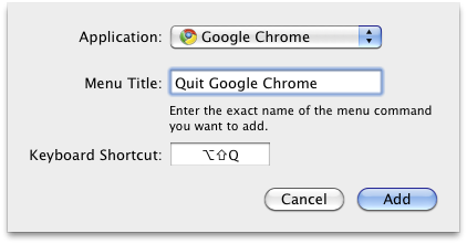 Quit Google Chrome shortcut